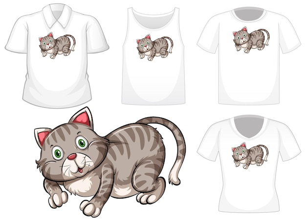 Cat cartoon character with set of different shirts isolated on white