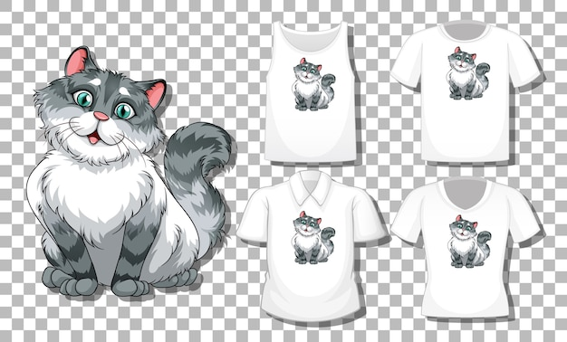 Cat cartoon character with set of different shirts isolated