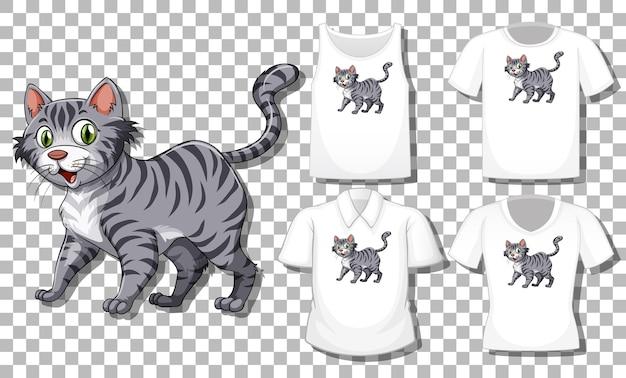 Кошка мультипликационный персонаж с множеством разных рубашек, изолированные на прозрачном фоне