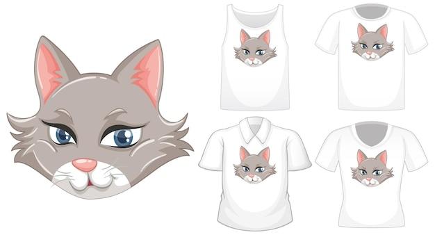 白い背景で隔離のさまざまなシャツのセットを持つ猫の漫画のキャラクター