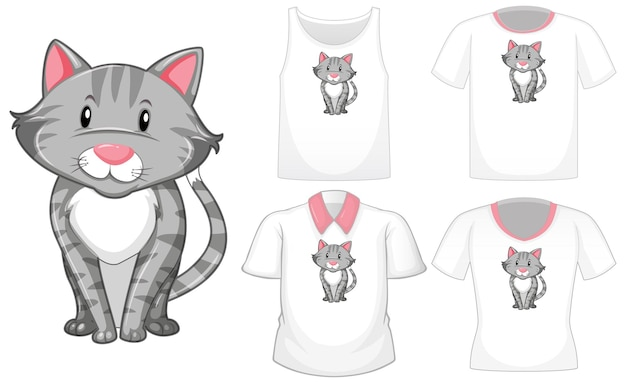 흰색 절연 다른 셔츠의 세트로 고양이 만화 캐릭터