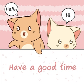 Cat cartoon characters say hi.