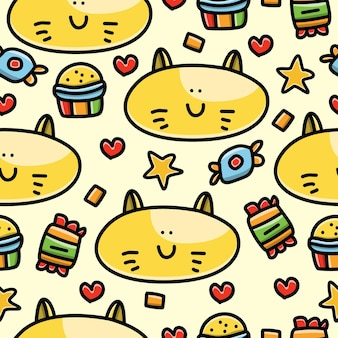 Кошка мультфильм каракули бесшовный фон дизайн обои