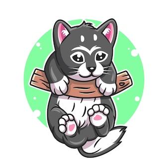 Cat cartoon hanging on wood vector illustration