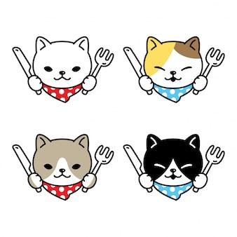 Кот мультфильм котенок ситцевая кулинария еда шеф повар персонаж