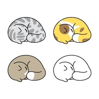 Cat cartoon kitten sleeping illustration