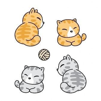 Кошка мультфильм котенок пряжа мяч иллюстрация
