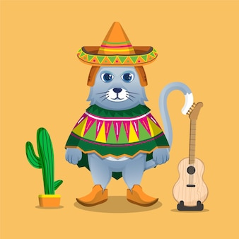 Cat cartoon mascot celebrating cinco de mayo