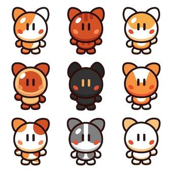Кошка мультфильм векторные иллюстрации набор