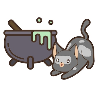 Cat and cauldron in halloween day