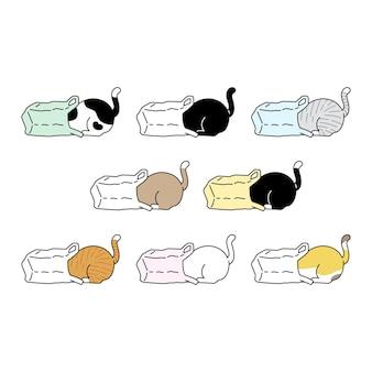 고양이 캐릭터 만화 새끼 고양이 옥양목 비닐 봉지