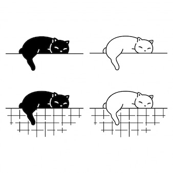 잠자는 고양이 캐릭터 만화 고양이 새끼 옥양목
