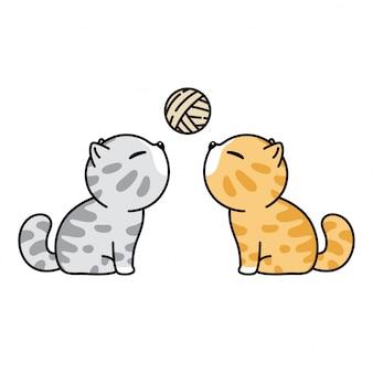 Кот персонаж мультяшный котенок ситцевая пряжа шар иллюстрация