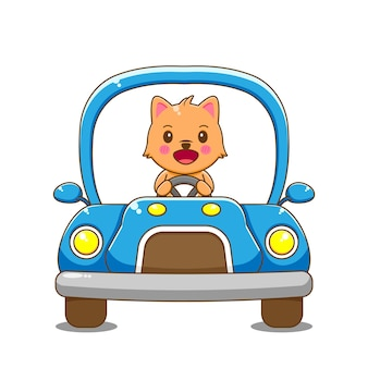 猫のキャラクターの運転車。