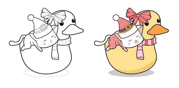 Cat character and ducky cartoon coloring page
