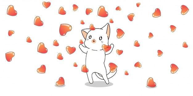 Cat character and hearts in loving day
