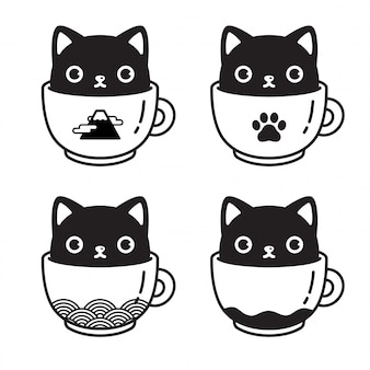 Cat character kitten coffee cup cartoon illustration