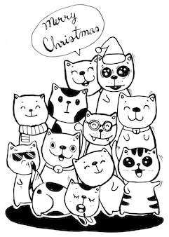 Cat characters style doodles illustration coloring for children