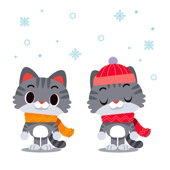 Cat characters wearing scarf and winter hat