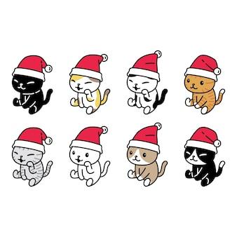 Cat christmas santa claus hat kitten character cartoon sitting