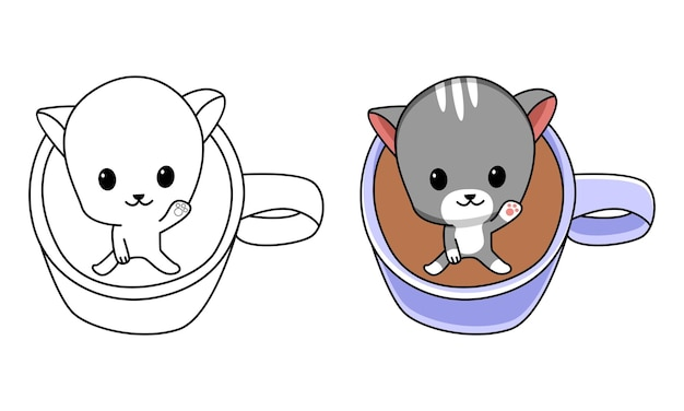 Cat in coffee cup coloring page for kids