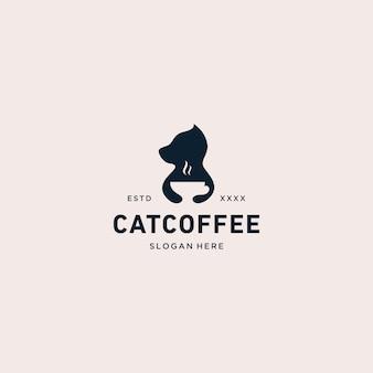 Cat coffee logo vector illustration