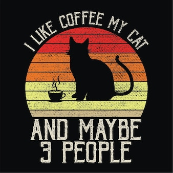 Cat and coffee sillhouete