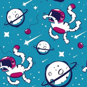 宇宙ベクトル漫画のシームレスなパターンで猫の宇宙飛行士。壁紙、ラッピング、パッキング、背景の背景。