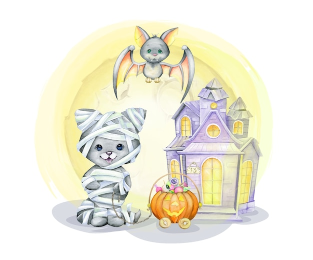 Cat in the costume of the mummy, bat, pumpkin, sweet, home. watercolor concept, in cartoon style for the halloween holiday