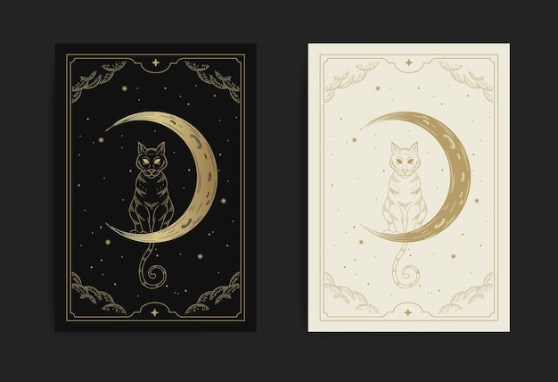 Cat and crescent moon in the starry night sky