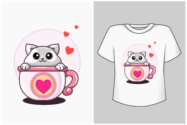 Cat in the cup cartoon illustration