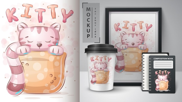 Cat in cup  poster and merchandising