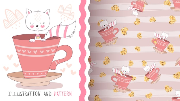 Cat in cup  seamless pattern