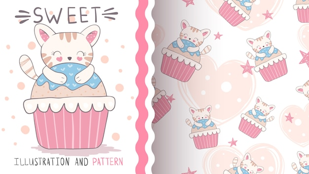 Cat on cupcake seamless pattern and illustration
