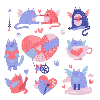 Cat cupid cartoon characters set. valentine's day illustration.