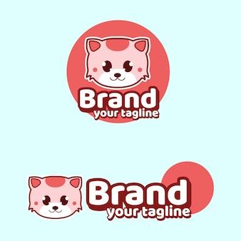 Cat cute brand mascots logo character