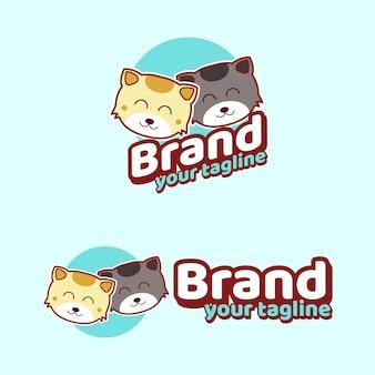 고양이 귀여운 브랜드 마스코트 로고 캐릭터