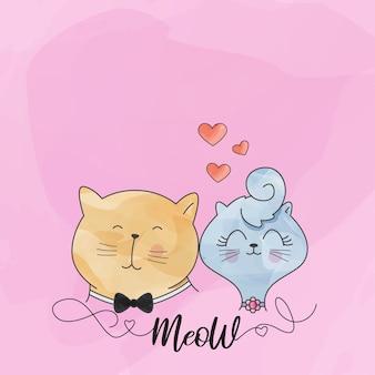 猫のかわいいカップル水彩