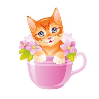 ネコ 。花のカップに座っているかわいい子猫。漫画猫を描きます。水彩風の面白いキティ。