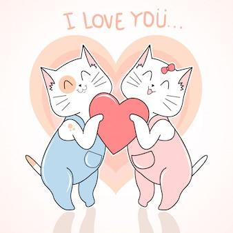 Cat cute love valentine day