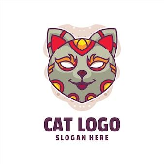Cat cyborg cartoon logo vector