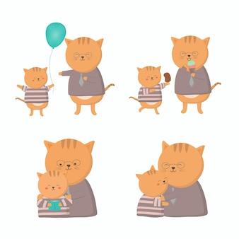 고양이 아빠는 아버지의 날 아기와 함께 행복합니다. 그들은 행복하게 포옹하고 놀았습니다.