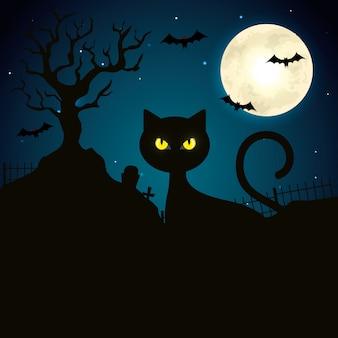 Cat in the dark night halloween scene illustration