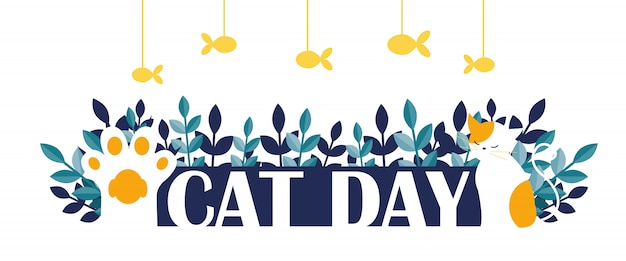 Cat day banner
