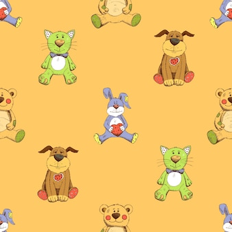 고양이, 개, 토끼 배경 무늬. 강아지, 새끼 고양이 및 토끼.