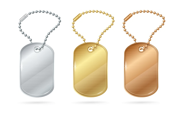 Cat dog animal tags or medallion of different metal.