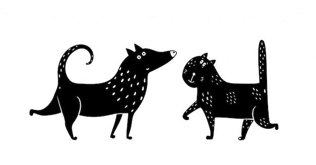 Кошка собака черный и белый