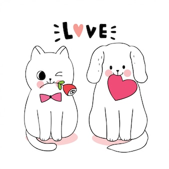 Cat and dog and heart and rose