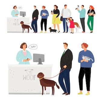 Cat and dog hospital queue