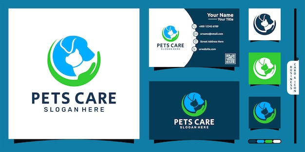 Cat dog logo with hand element style and business card design premium vector